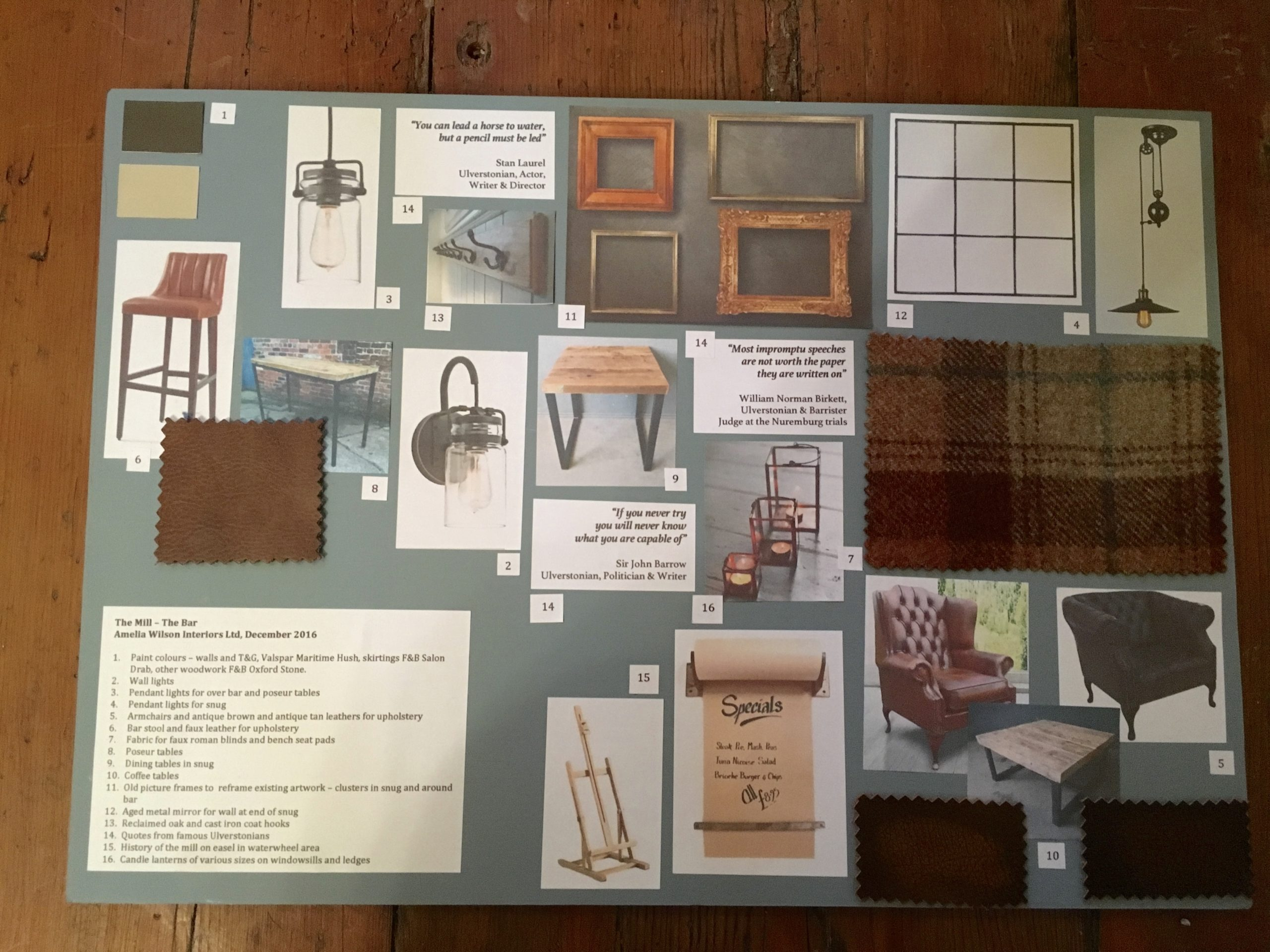 Mood board for the main bar in The Mill at Ulverston gastropub in Cumbria