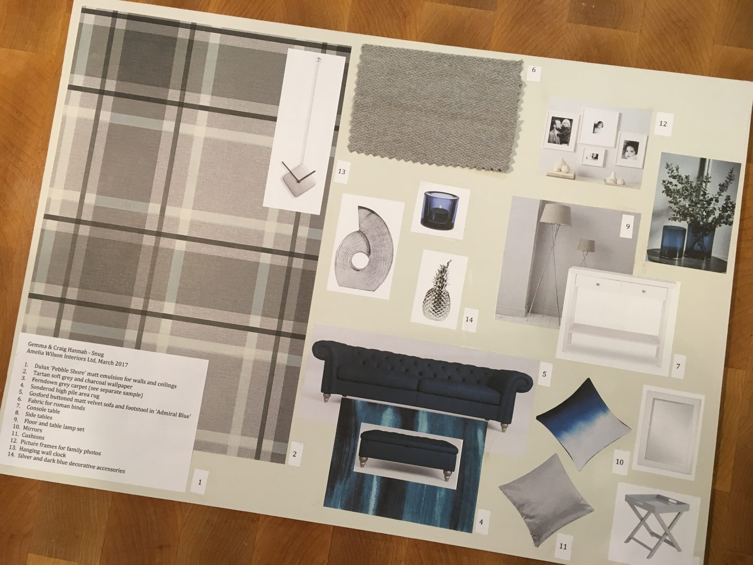 Moodboard for plush modern country TV room with blue velvet sofa, grey and white decor and grey plaid wallpaper and chrome accessories