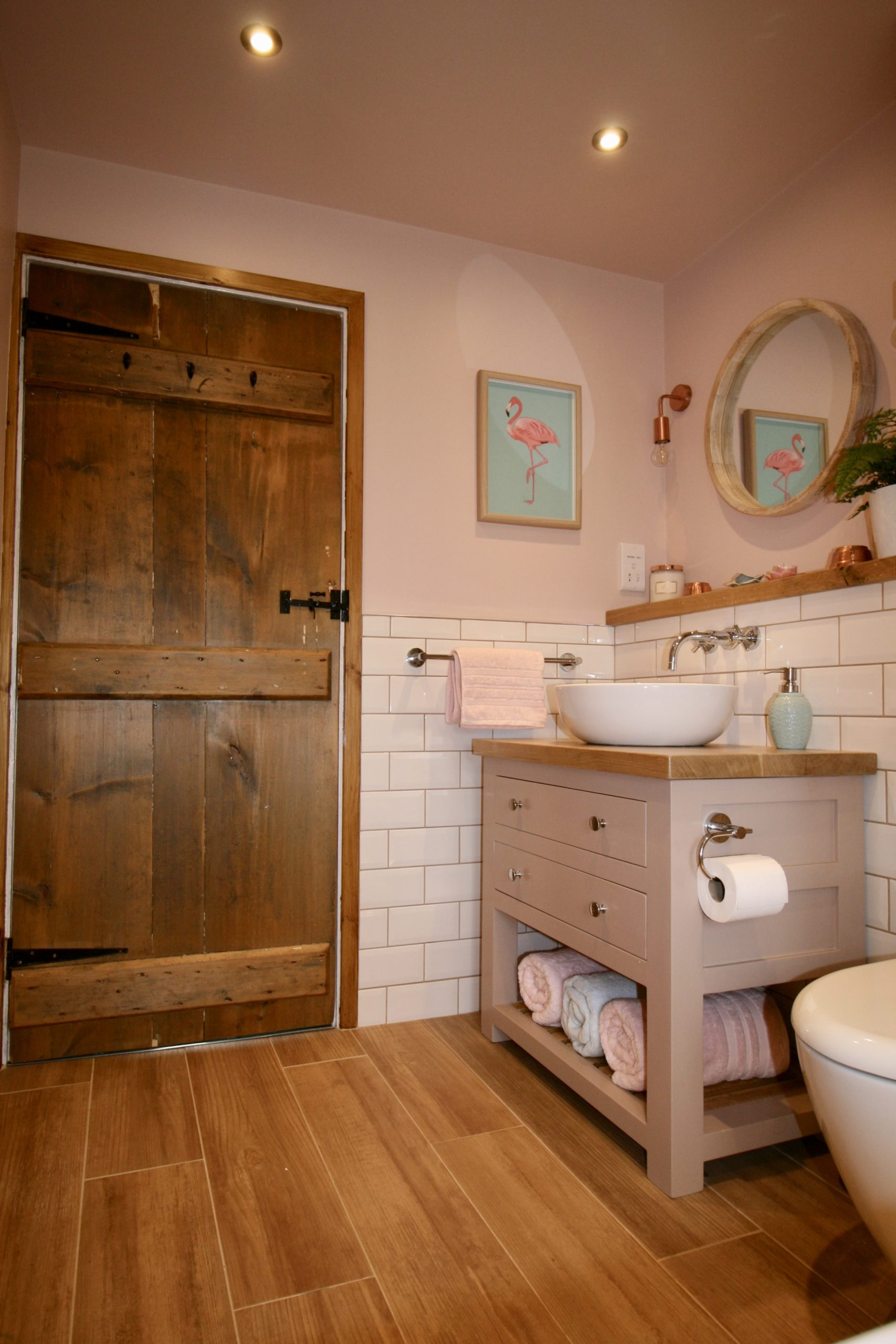 Cottage door stripped and oiled in bathroom designed by Amelia Wilson