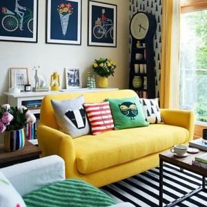 Yellow sofa in living room