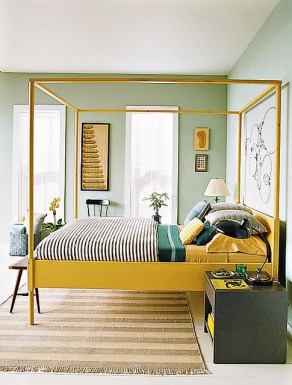 Yellow four poster bed frame