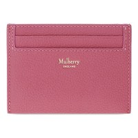 Pink Mulberry grained leather card holder