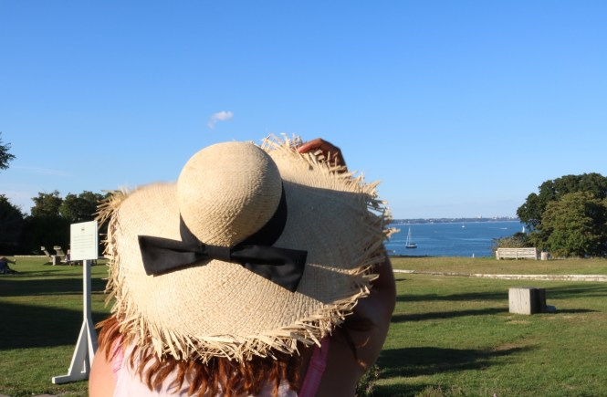 Sitting in my sun hat looking at the view of studland bay