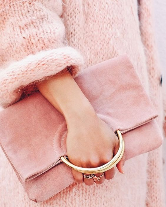 pink knit and pink clutch bag Belgrave crescent
