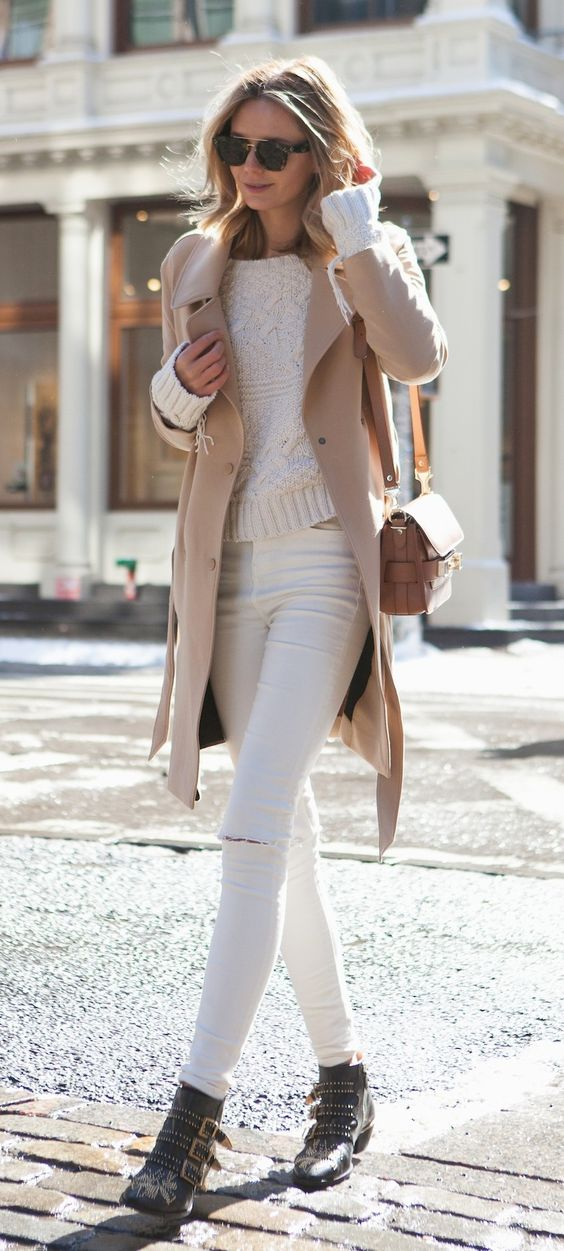 taupe and white winter fashion