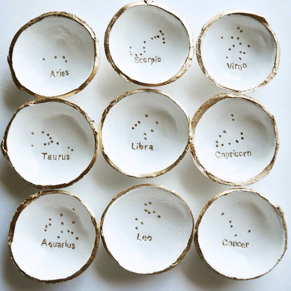 Porcelain jewellery bowls star signs