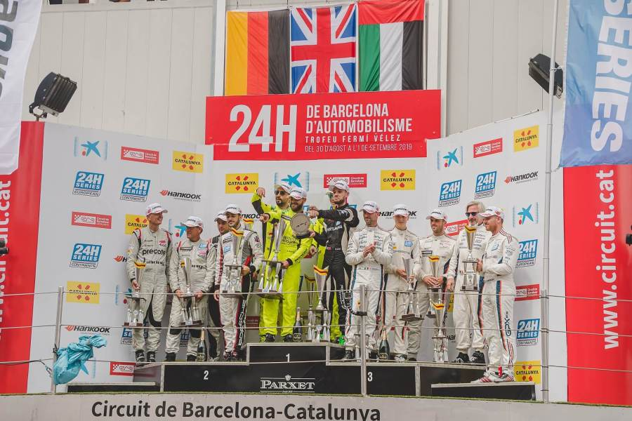 UAE flag flies on the podium at Barcelona 24h endurance race