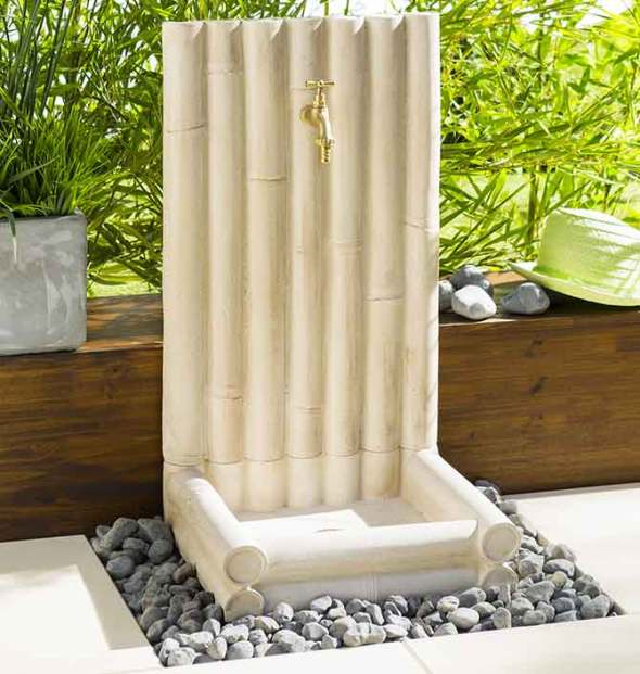 Fontaine de Jardin en Béton Bambou