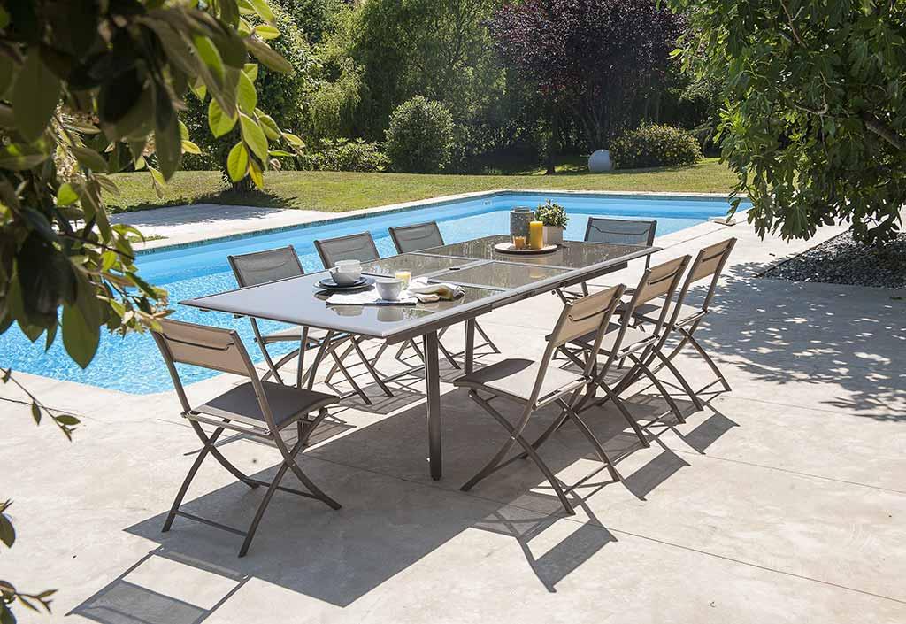Table De Jardin Aluminium Et Verre. Best Table Summer Laqu Blanc ...