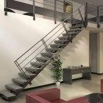 Escalier limon central métal