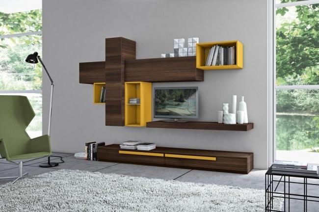 salon avec des meubles de rangement mural