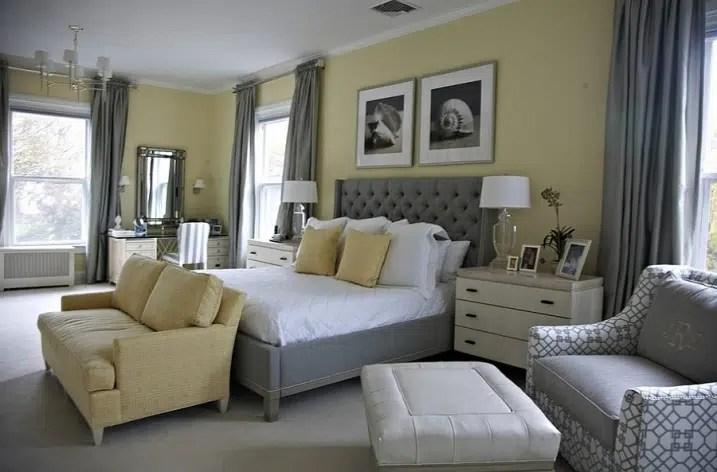 idees deco pour une chambre jaune et grise