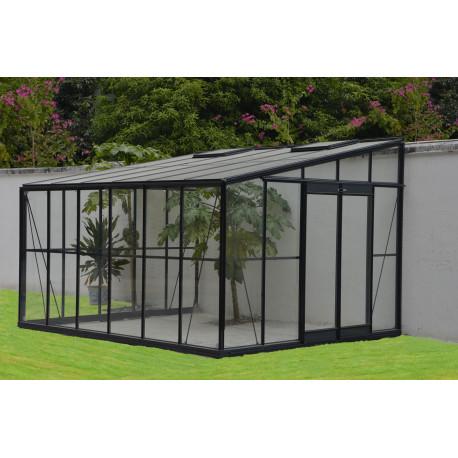 serre de jardin adossable en verre trempe 11 85 m2 gris anthracite