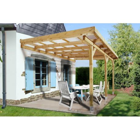 pergola a toit plat en bois traite autoclave 279 x 427 x 271 cm 12 m
