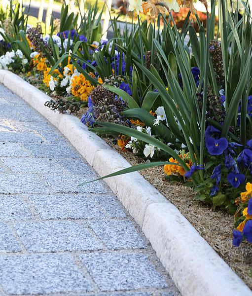jardin avec des bordures en pierre