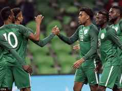 Super Eagles celebrates with Alex Iwobi [www.AmenRadio.net]