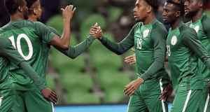 Super Eagles celebrates with Alex Iwobi [www.AmenRadio.net]