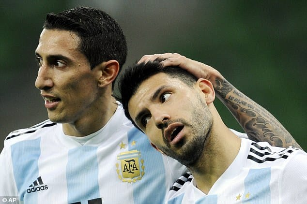 Sergio Augero makes it 2-0 against Nigeria flanked by Angel Di Maria [www.AmenRadio.net]