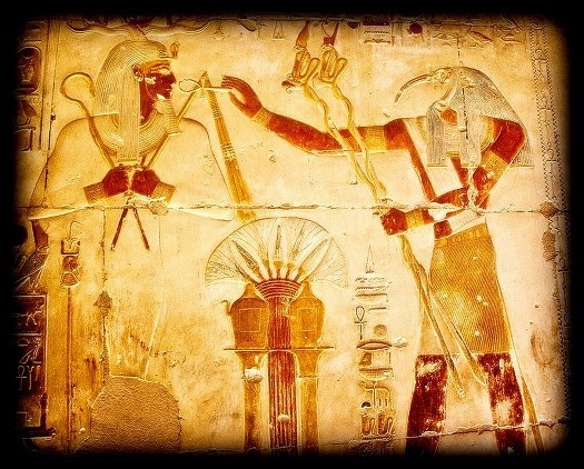 Old World Relief of Egyptian God Thoth - Thought