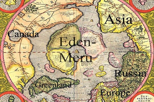 Old world 1595 Mercator Map of the North Pole shown as Eden and Meru