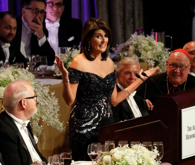 U S Ambassador To The United Nations Nikki Haley Delivers The Keynote Address During The 73rd Annual Alfred E Smith Memorial Foundation Dinner In New York
