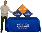 salesmate compact table top display with dye sub printed machine washable fabric graphics