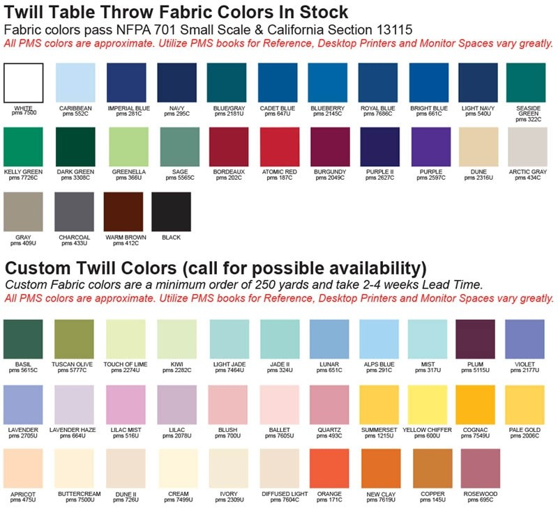 2015 logo trade show table throw fabric colour choices