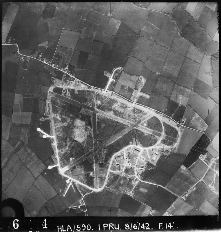 Aerial photograph of Bottesford airfield looking west, the technical site is bottom right, 8 June 1942. Photograph taken by No. 1 Photographic Reconnaissance Unit, sortie number RAF/HLA/590. English Heritage (RAF Photography).