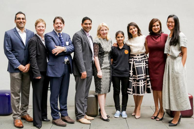 From left to right: Rahul Brahmbhatt, Magic Bus USA; Susan Markham, USAID Senior Coordinator for Gender Equality & Women's Empowerment; Jean-Pierre Le Calvez, VP of Marketing, Hewlett Packard; Deval Sanghavi, Partner and Co-Founder, DASRA; Catherine Russell, U.S. Ambassador-at-Large for Global Women's Issues; Student Sangita Pal; Freida Pinto, Girl Rising Ambassador; Dr. Amita Vyas, Girl Rising U.S.-India Advisory Board Chair; Samantha Wright, Vice President, Global Programs, Girl Rising
