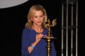 Rep. Carolyn Maloney (D-NY) lighting diya at the Indiaspora gala held at Marriott Marquis in Washington, DC, on January 3, 2017. Photo credit: The American Bazaar