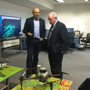 Dr. Sanjiv Singh explains Near Earth Autonomy's aerial robotics technology to U.S. Congressman Doyle.