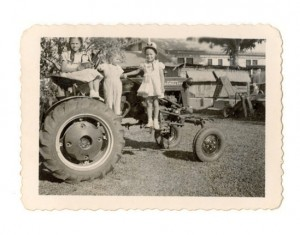 Third-Generation Giunta's Sara Marie, Don Jr., and Victoria Jean on their dad's Farmall Tractor, 1951