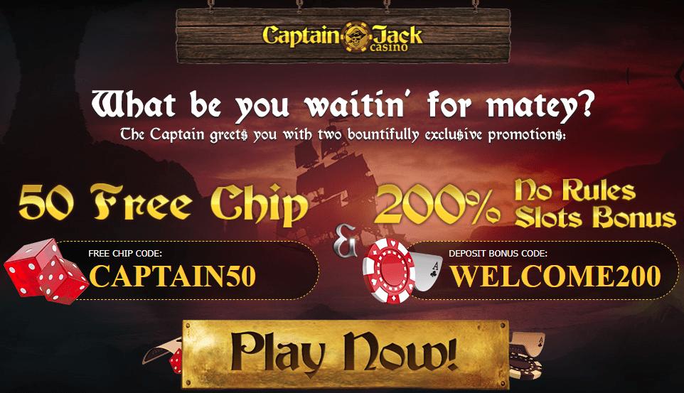 Captain Jack No Deposit Bonus $50 FREE!