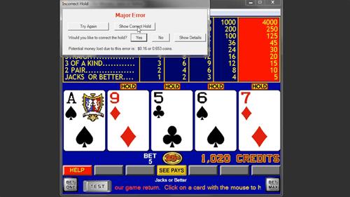 video poker strategy error