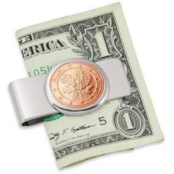 German Oak Twig Five Cent Euro Coin Silvertone Money Clip