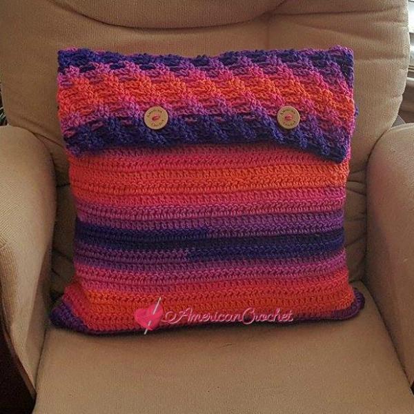 Rainbow Twist Pillow Cover | Crochet Pattern | American Crochet @americancrochet.com