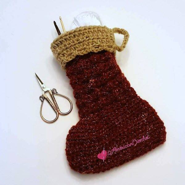 Holiday Gleam Gift Stocking | Crochet Pattern | American Crochet @americancrochet.com #crochetpattern