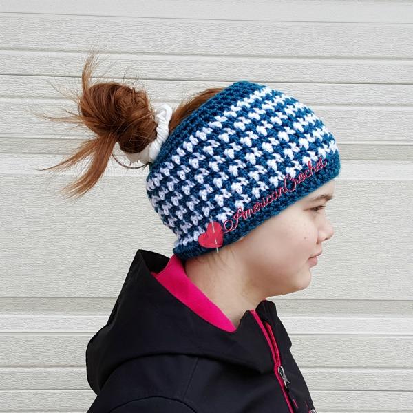 This & That Messy Bun Hat | Free Crochet Pattern | American Crochet @americancrochet.com #freecrochetpattern