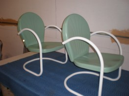 Vintage patio chairs after powder coating CT