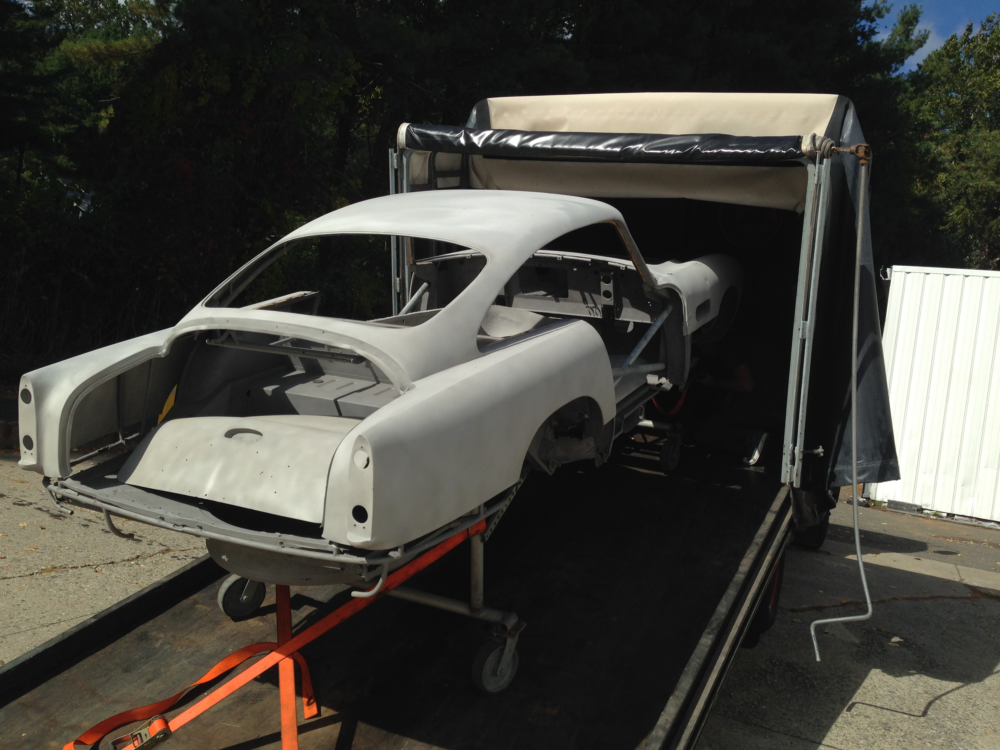 1960 Aston Martin after dry abrasive blasting Delivery New England