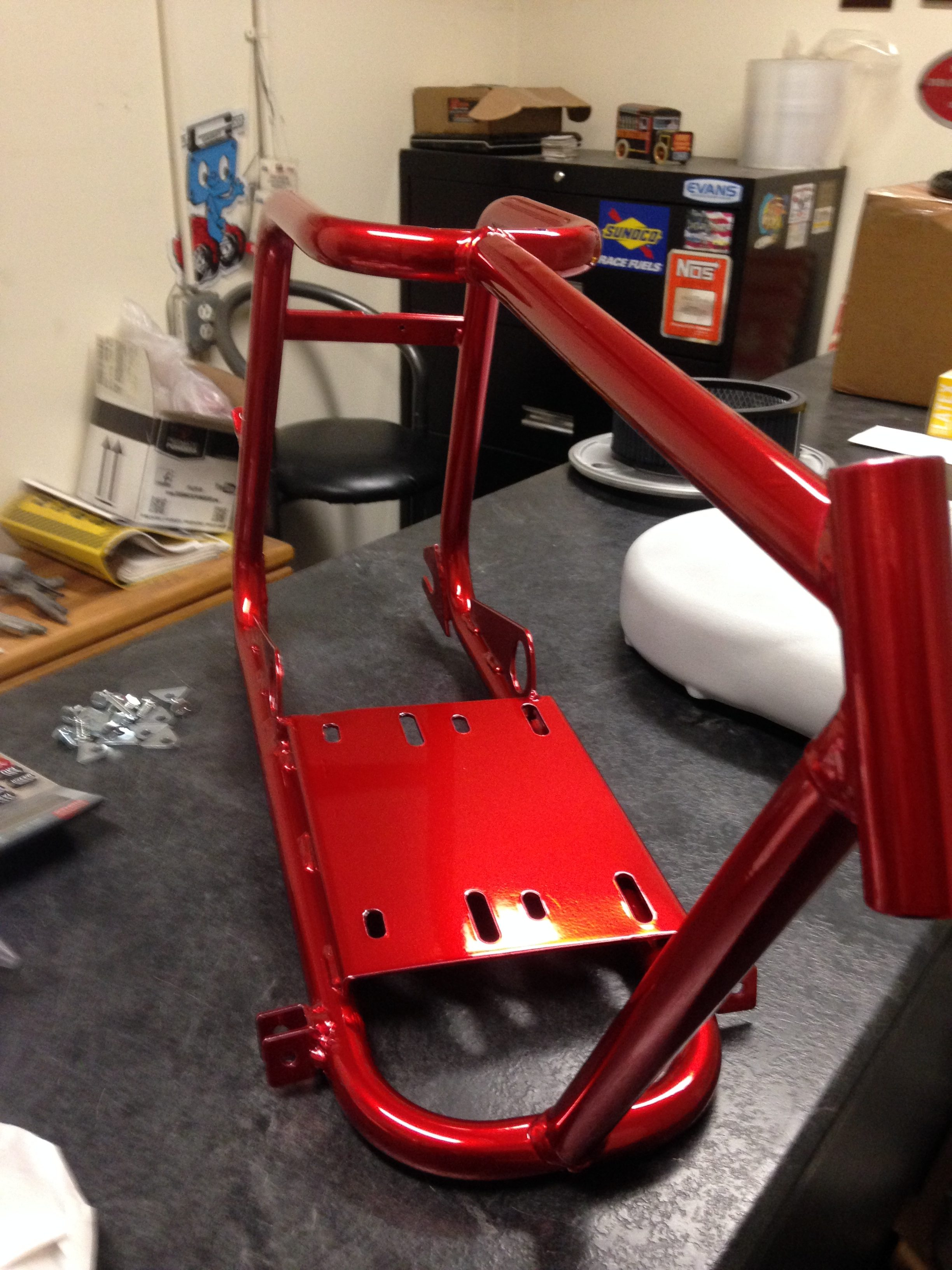 Bike frame powder coated in Lollilpop Red Xtreme Temperature Coatings CT