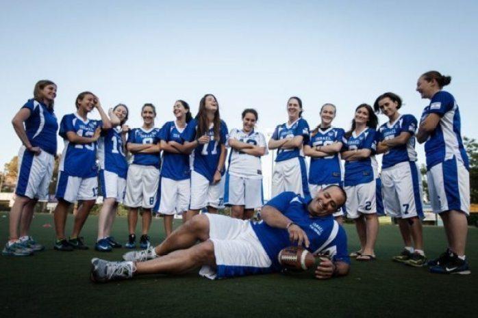 Aliza Shore and Israeli flag football team