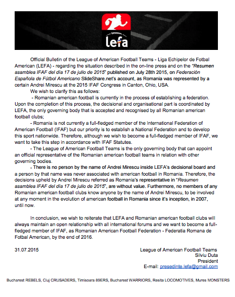 LEFA Statement
