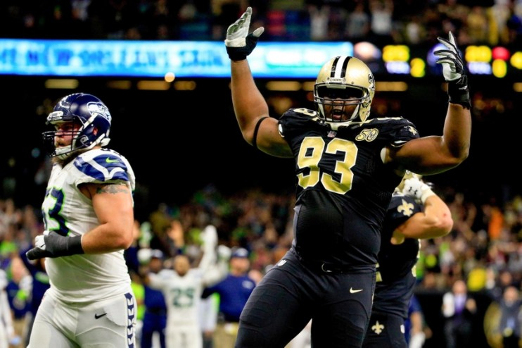Oct 30, 2016; New Orleans, LA, USA; New Orleans Saints defensive tackle David Onyemata (93) celebrates after a defensive stop to win the game as time expired during the fourth quarter of a game against the Seattle Seahawks at the Mercedes-Benz Superdome. The Saints defeated the Seahawks 25-20. Mandatory Credit: Derick E. Hingle-USA TODAY Sports