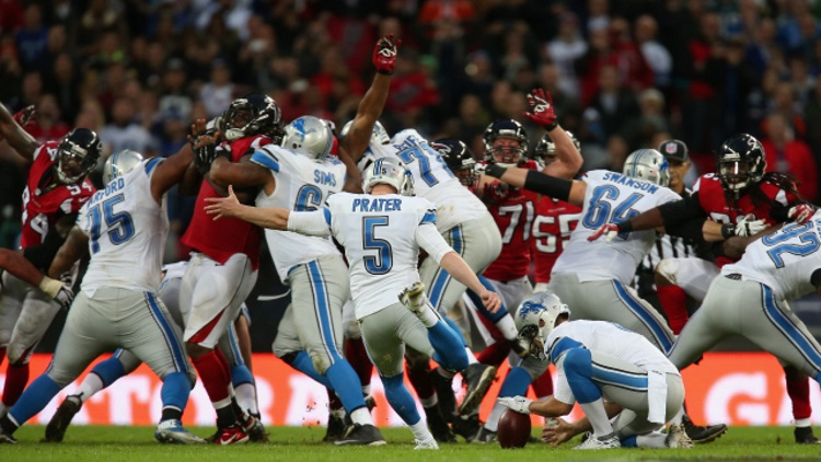 during the NFL match between Detroit Lions and Atlanta Falcons at Wembley Stadium on October 26, 2014 in London, England.