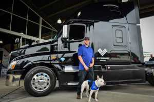 truck with guy and dog