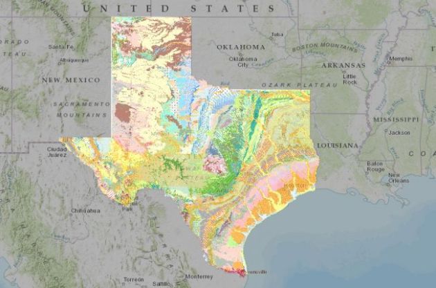 Interactive map of the surface geology of Texas   American     Screenshot of the interactive map of Texas  surface geology