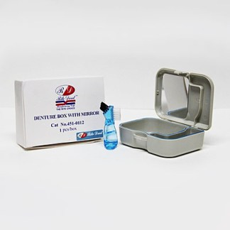 Denture Retainer Case Box With Mirror And Cleaning Brush
