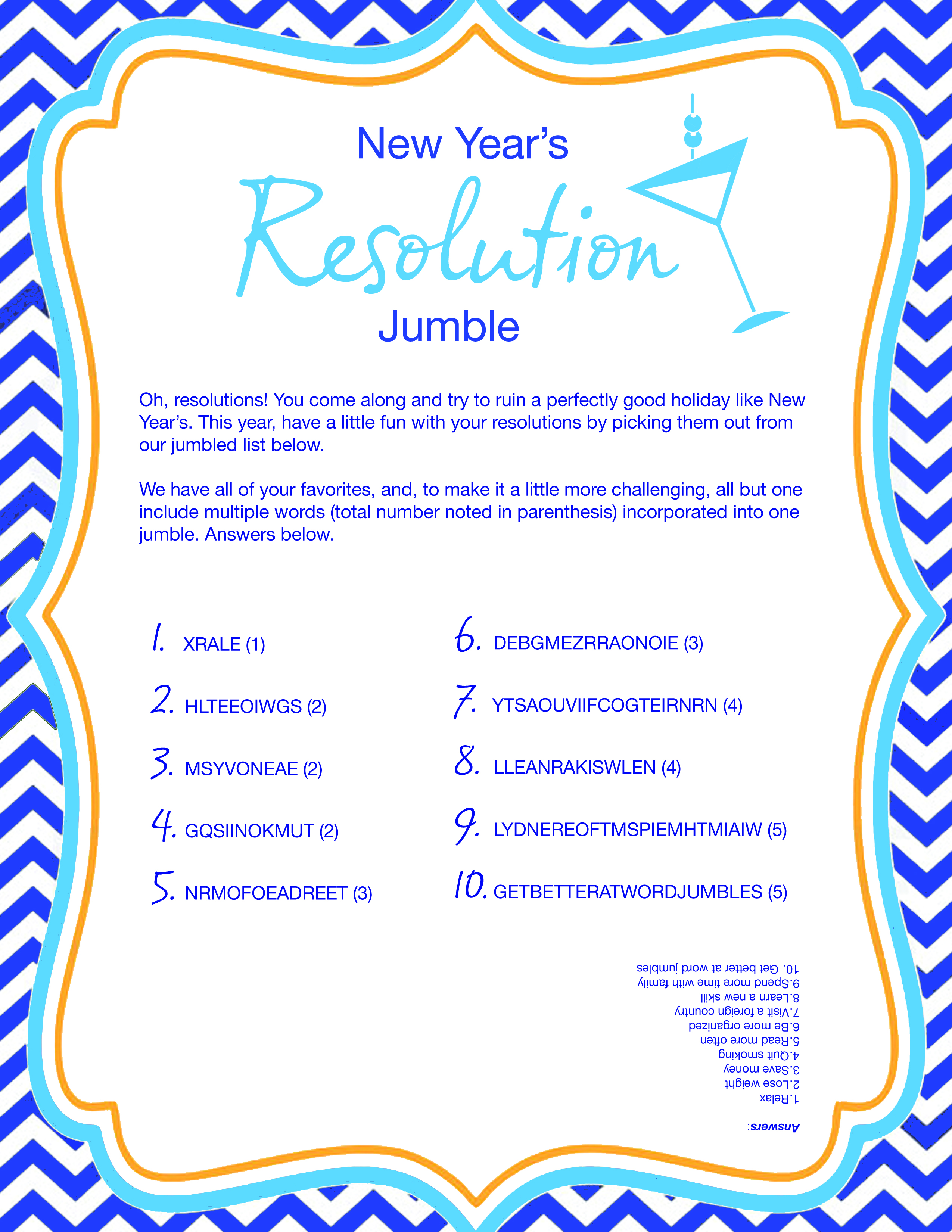 New Years Resolution Word Jumble Archives