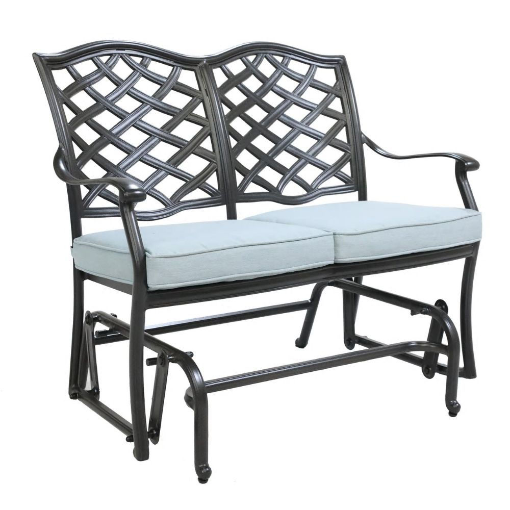 halsey outdoor bench glider with cushion